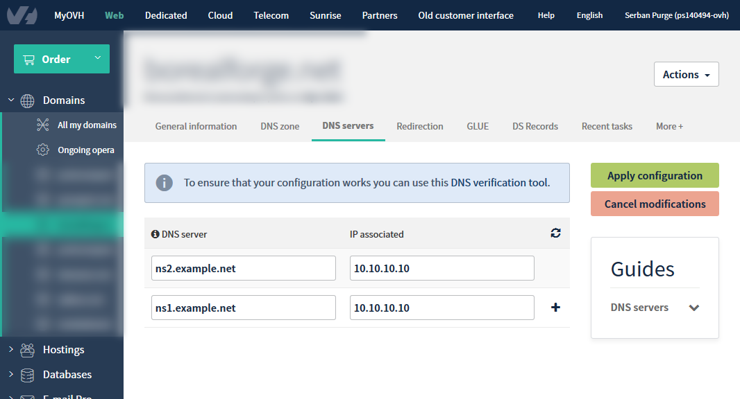 Configuring your OVH registered domain with a VPS Plesk hosting